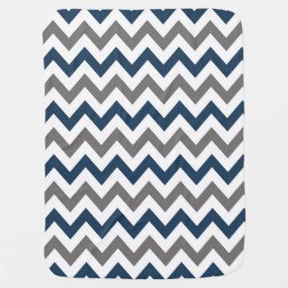 Marinblå och för grå färgsparrebaby filt