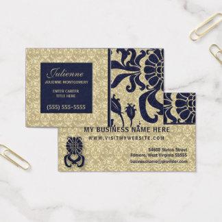 Marinblå och för Taupe damastast yrkesmässig affär Visitkort