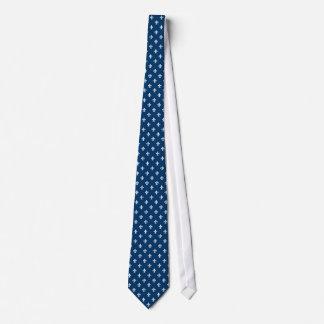 Marinblå och för vit fleur de lis bröllopbrudgum slips