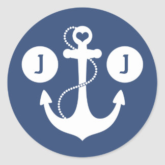 Marinblå och för vit nautisk Monogram Runt Klistermärke