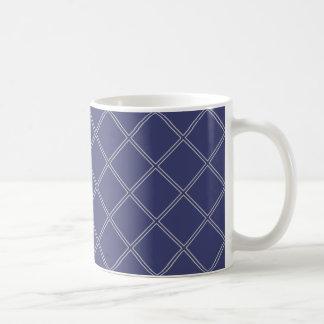 Marinblå och geometriskt diamantmönster för silver kaffemugg