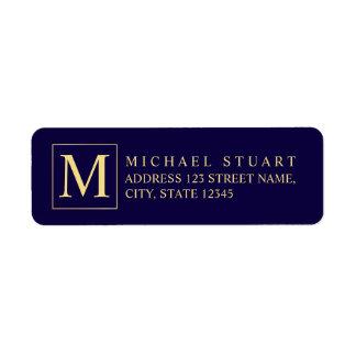 Marinblå och guld- elegant Monogram Returadress Etikett