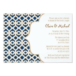 Marinblå och guld- marockansk parmöhippa 12,7 x 17,8 cm inbjudningskort