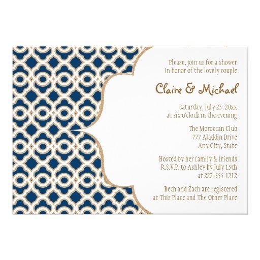 Marinblå och guld- marockansk parmöhippa inbjudningskort