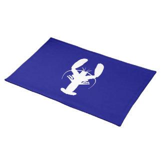 Marinblå och kust- dekorhummer för vit bordstablett