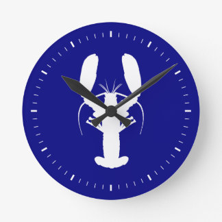 Marinblå och kust- dekorhummer för vit rund klocka