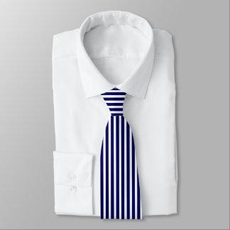 Marinblå och vit görad randig Tie Slips