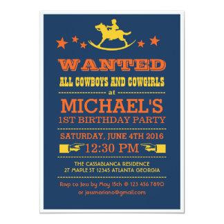Marinblå önskad western Cowboyinbjudan 12,7 X 17,8 Cm Inbjudningskort