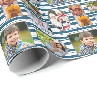 Marinblå randhelgdag för foto som slår in papper presentpapper