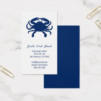 Marinblå restaurang för krabbaSilhouetteskaldjur Visitkort