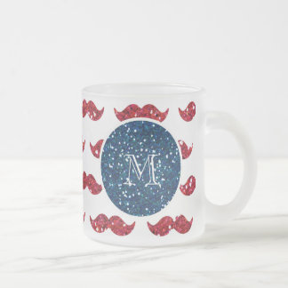 Marinblå röd glittermustasch, din Monogram Frostad Glas Mugg
