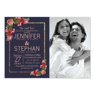 Marinblå rosa blom- guld- förlovning 12,7 x 17,8 cm inbjudningskort