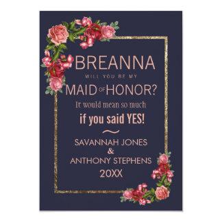 Marinblå rosa blom- guld- maid of honor 12,7 x 17,8 cm inbjudningskort