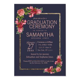 Marinblå rosa blom- guld- studentenceremoni 12,7 x 17,8 cm inbjudningskort
