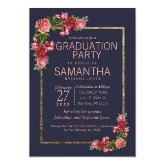 Marinblå rosa blom- guld- studentfest 12,7 x 17,8 cm inbjudningskort