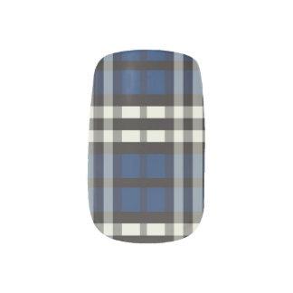 Marinblå slyna för plädTartanmönster) Klistermärken För Naglar