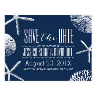 Marinblå strandsnäckskalbröllop spara datum vykort