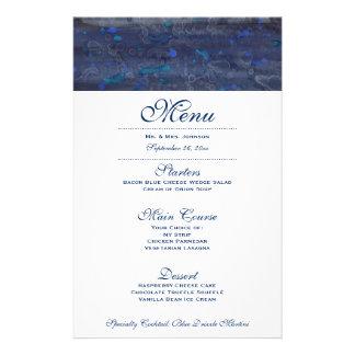 Marinblå vattenfärg för meny | för bröllopmiddag