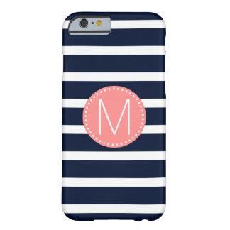 Marinblå & vitrand med korallmonogramen barely there iPhone 6 skal