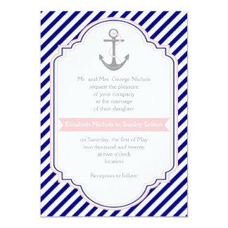 Marinblåa ankrar rosor & nautiskt bröllop för anpassningsbara inbjudningskort
