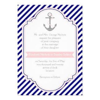 Marinblåa ankrar rosor & nautiskt bröllop för rand anpassningsbara inbjudningskort