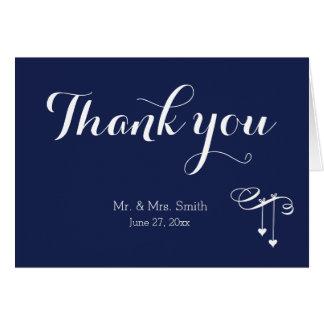 Marinblåa brölloptackkort med hjärtor OBS kort