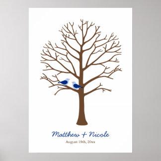Marinblåa bruna fåglar identifierar med fingeravtr posters