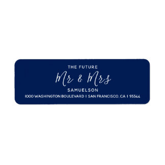 Marinblåa framtida Herr & Fru som gifta sig Returadress Etikett