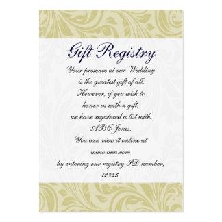 marinblåa & gula damastast gåvaregistreringskort set av breda visitkort