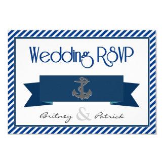 Marinblåa & nautiska bröllop OSAkort för vit 8,9 X 12,7 Cm Inbjudningskort