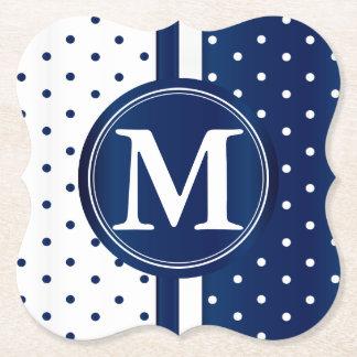 Marinblåa och vitpolka dots - Monogram Underlägg Papper