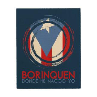 Marinblåa Puerto Rico Borinquen Trätavla
