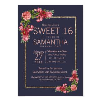 Marinblåa rosa blom- guld- inbjudningar för sötsak
