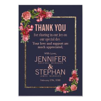 Marinblåa rosa blom- guld- tackkort 8,9 x 12,7 cm inbjudningskort