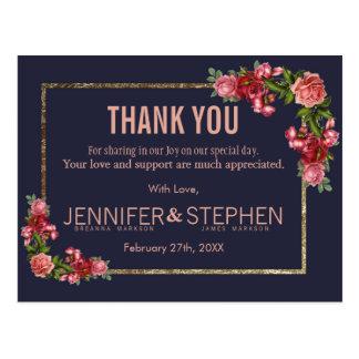 Marinblåa rosa blom- guld- tackvykort vykort