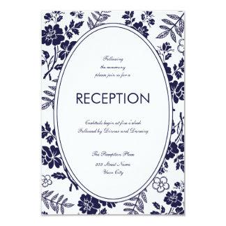 Marinblått blom- mottagandekort 8,9 x 12,7 cm inbjudningskort