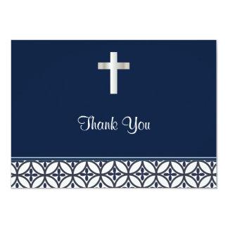 Marinblått doptack 11,4 x 15,9 cm inbjudningskort