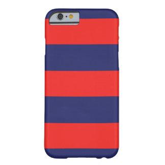 marinblått för fodral för iPhone 6 randig & rött Barely There iPhone 6 Fodral