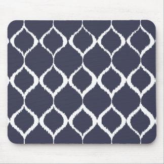 Marinblått geometriskt Ikat stam- tryckmönster Musmatta