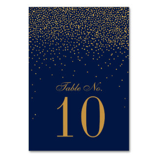 Marinblått & Glam guld- konfettibröllop Bordsnummer