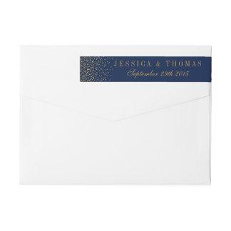 Marinblått & Glam guld- konfettibröllop Etikettband