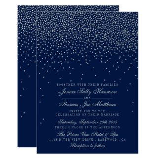 Marinblått & Glam silverkonfettibröllop 12,7 X 17,8 Cm Inbjudningskort