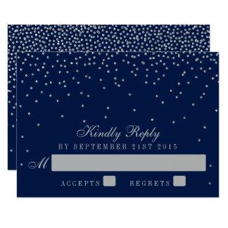 Marinblått & Glam silverkonfettibröllop OSA 8,9 X 12,7 Cm Inbjudningskort