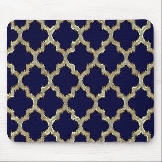 Marinblått & guld- Ikat stam- geometriskt mönster Musmatta