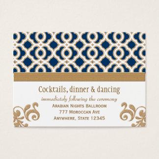 Marinblått guld- marockanskt mottagandebilagakort visitkort