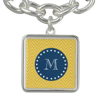 Marinblått gult sparremönster | din Monogram Berlockarmband