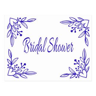 Marinblått hjärtabröllop för blom- möhippa vykort