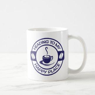 Marinblått lyckligt kaffe för ställe A257 Kaffemugg