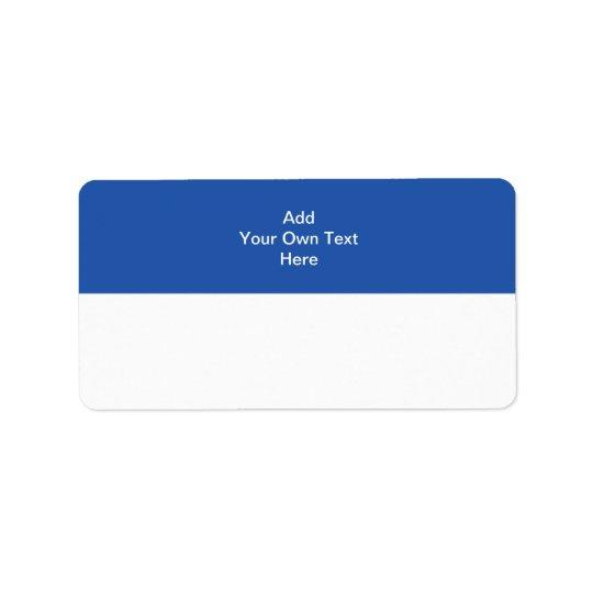 Marinblått med vitområde och text adressetikett