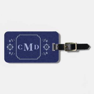Marinblått mönster för blom- gräns bagagebricka
